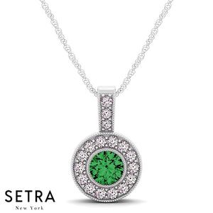 14K Gold Round Cut Diamonds & Green Emerald In Halo Setting Necklace