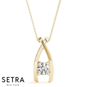 WishBone Diamond Solitaire Necklace 14kt Gold