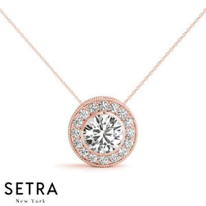 Diamonds Halo Necklace 14kt Gold