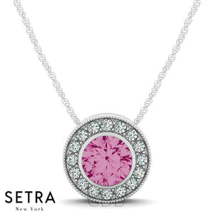 14K Gold Round Cut Diamonds & Pink Sapphire In Halo Setting Necklace
