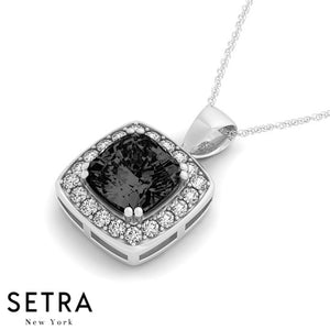 14K Gold Round Cut Diamonds & Cushion Cut Black Diamond Cut In Halo Setting Necklace