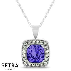 14K Gold Round Cut Diamonds & Cushion Cut Sapphire Cut In Halo Setting Necklace