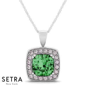 14K Gold Round Cut Diamonds & Green Emerald Radiant Cut In Halo Setting Necklace