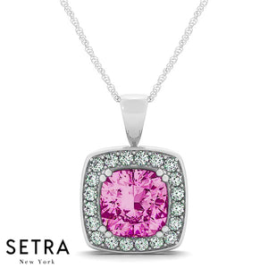 14K Gold Round Cut Diamonds & Cushion Cut Pink Sapphire In Halo Necklace