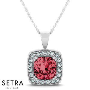 14K Gold Round Cut Diamonds & Cushion Cut Ruby Cut In Halo Setting Necklace