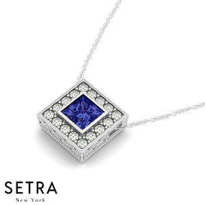 14K Gold Round Cut Diamonds & Princess Cut Sapphire In Halo Setting Necklace