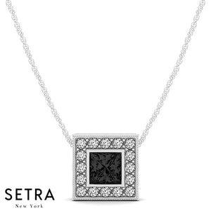 14K Gold Round Cut Diamonds & Princess Cut Black Diamond In Halo Necklace