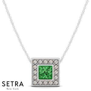 14K Gold Round Cut Diamonds & Princess Cut Green Emerald In Halo Setting Necklace