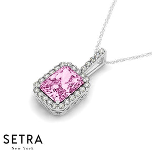 14K Gold Round Cut Diamonds & Emerald Cut Pink Sapphire In Halo Necklace