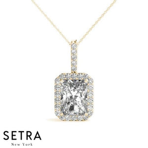 For Center Emerald Cut Diamond Halo Necklace 14kt Gold