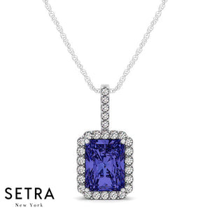 14K Gold Round Cut Diamonds & Emerald Cut Sapphire In Halo Setting Necklace