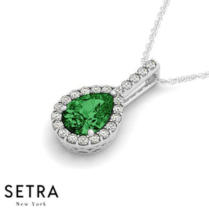 14K Gold Round Cut Diamonds & Green Pear Shape Emerald In Halo Setting Necklace