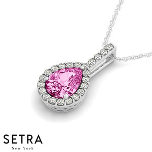 14K Gold Round Cut Diamonds & Pear Cut Pink Sapphire In Halo Necklace
