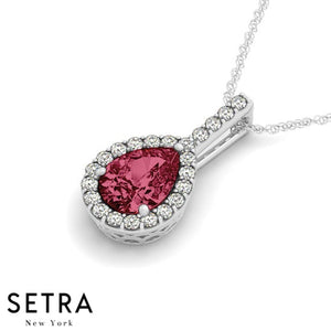 14K Gold Round Cut Diamonds & Pear Cut Ruby In Halo Necklace