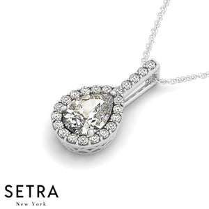Center Pear Cut Diamond Halo Necklace 14kt Gold