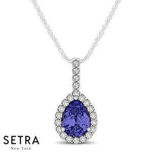 14K Gold Round Cut Diamonds & Pear Shape Sapphire In Halo Setting Necklace
