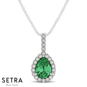 18K Gold Round Cut Diamonds & Green Pear Shape Emerald In Halo Setting Necklace
