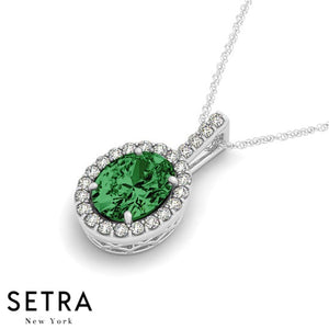 14K Gold Round Cut Diamonds & Green Oval Shape Emerald In Halo Setting Necklace
