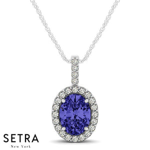 14K Gold Round Cut Diamonds & Oval Cut Sapphire In Halo Setting Necklace