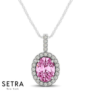 14K Gold Round Cut Diamonds & Oval Cut Pink Sapphire In Halo Setting Necklace