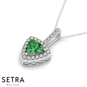 14K Gold Round Cut Diamonds & Try Angle Green Emerald In Halo Setting Necklace
