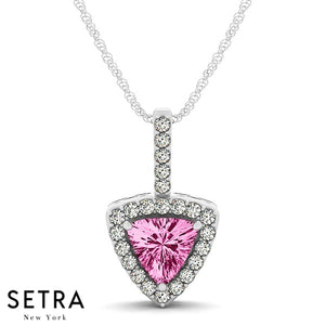14K White Gold Round Cut Diamonds & Triangle Pink Sapphire In Halo Necklace