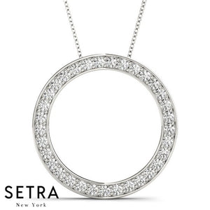 Channal Set Diamond Circle Necklace 14kt Gold