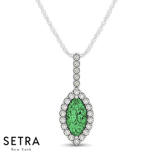 14K Gold Round Cut Diamonds & Marquise Green Emerald In Halo Setting Necklace