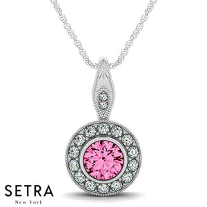 Vintage 14K Gold Round Cut Diamonds & Pink Sapphire In Halo Necklace