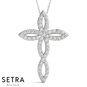 Fancy Diamond Cross Necklace 14kt Gold