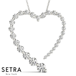Journey Graduated Diamond Heart Necklace 14kt Gold