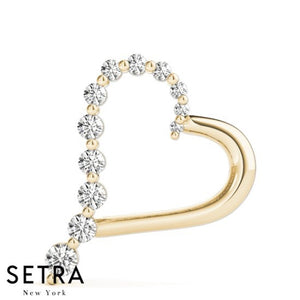 Graduated Diamond Heart Necklace 14kt Gold