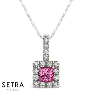 14K Gold Round Cut Diamonds & Princess Cut Pink Sapphire In Halo Necklace