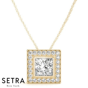 For Center Princess Cut Diamond Halo Necklace 14kt Gold