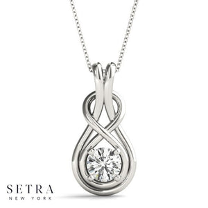 Solitary Round Cut Diamond Love Knot Necklace 14kt Gold