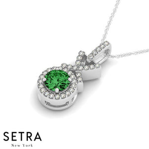 14K Gold Round Cut Diamonds & Emerald In Halo Setting X Style Necklace