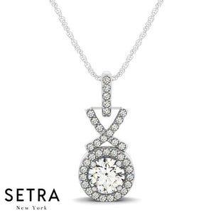X Style Diamonds Halo Necklace 14kt