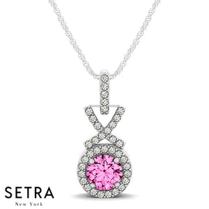 Vintage 18K Gold Round Cut Diamonds & Pink Sapphire In Halo Setting Necklace