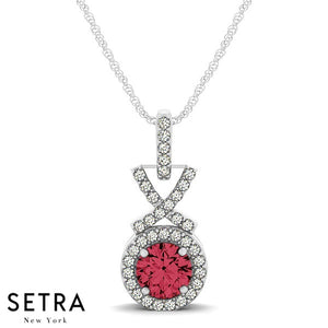 14K Gold Round Cut Diamonds & Ruby In Halo Setting X Style Necklace