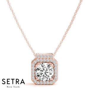 Micro-Pave Setting Diamonds Halo Necklace 14kt
