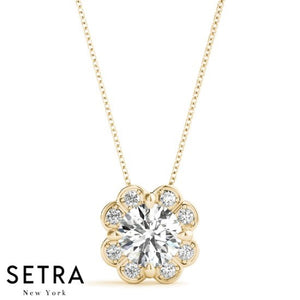 Flowers Diamonds Necklace Micro-Pave Setting 14kt Fine Gold