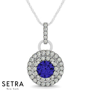 14K Gold Round Cut Diamonds & Sapphire In Double Halo Setting Necklace