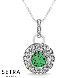 14K Gold Round Cut Diamonds & Green Emerald In Double Halo Setting Necklace