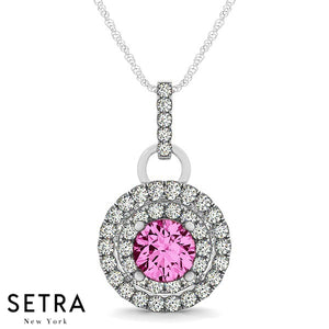 Vintage 14K Gold Round Cut Diamonds & Pink Sapphire In Double Halo Setting Necklace