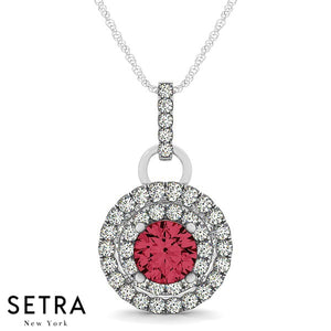 14K Gold Round Cut Diamonds & Ruby In Double Halo Setting Necklace