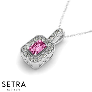 14K Gold Round Cut Diamonds & Emerald Pink Sapphire  In Halo Setting Necklace