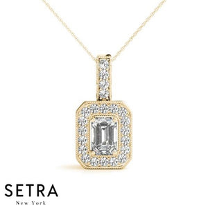 Center Emerald Cut Diamond Halo Necklace 14kt Gold