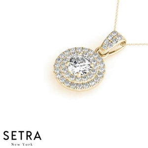 Double Row Diamonds Halo Necklace 14kt Gold