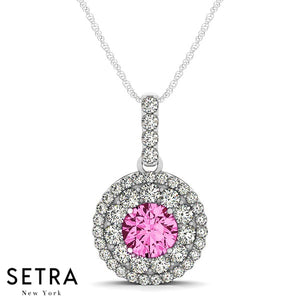 18K Gold Round Cut Diamonds & Pink Sapphire In Double Halo Setting Necklace