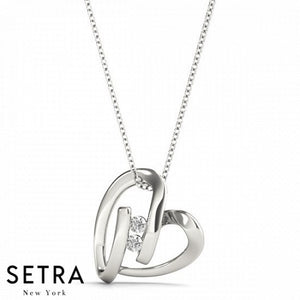 Channel Setting Diamond Heart Necklace 14kt Gold